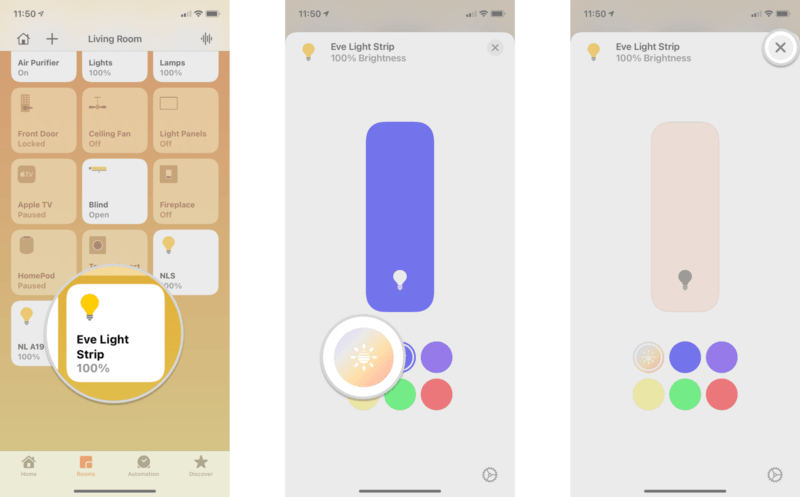 How to set a color for HomeKit lights in the Home app on iPhone and iPad