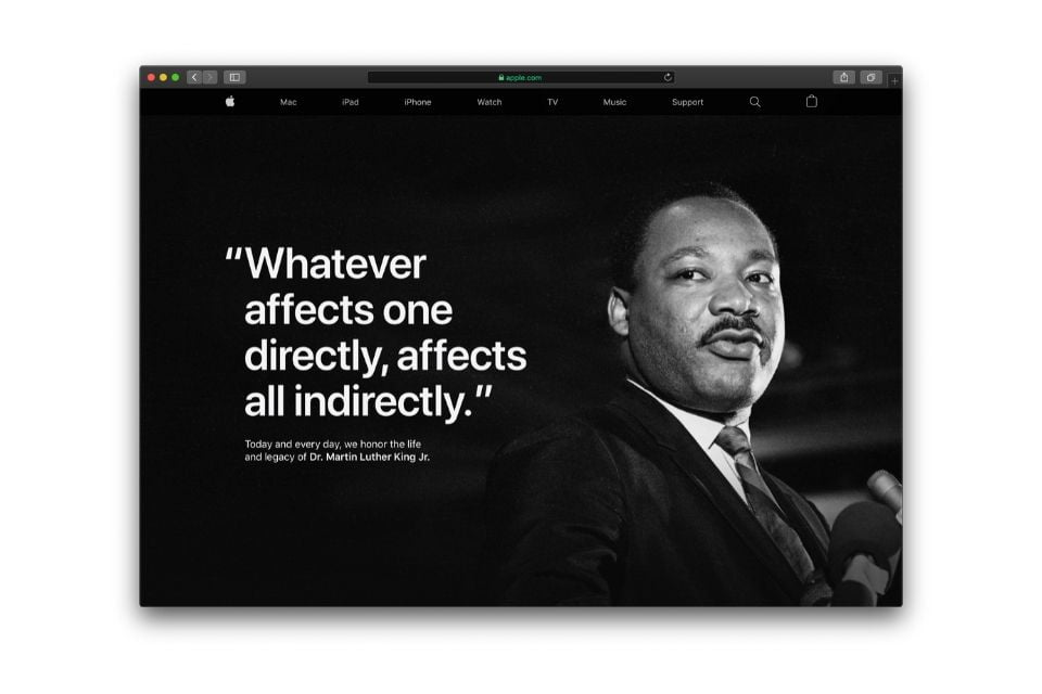 Apple commemorate Martin Luther King Jr. Day withfull-page tribute on Apple.com