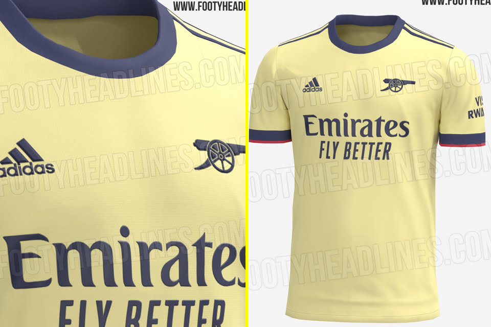 "Arsenal's new away kit for the 2021-22 season has been ""revealed online"" and the Gunners will wear yellow for the next campaign"