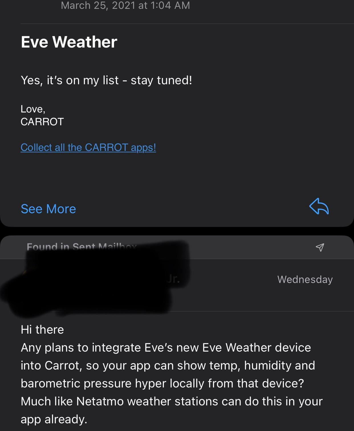 Coming soon Integrating carrot weather with the new Eve weather