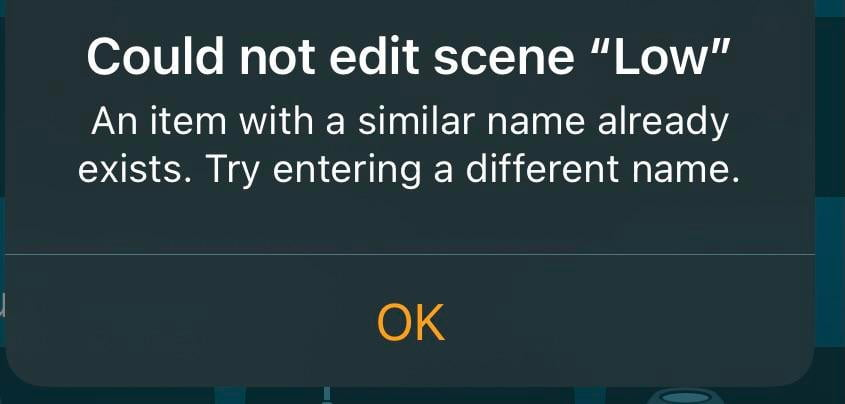 """Do you have any idea where I can find this """"similar name""""?  I looked everywhere and I can't find it.  When I ask Siri, she says, """"this (low) scene hasn't been set up yet."""""""