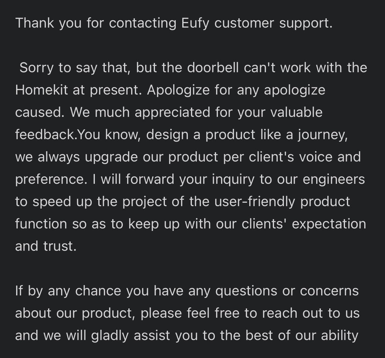 Eufy response about HomeKit doorbell