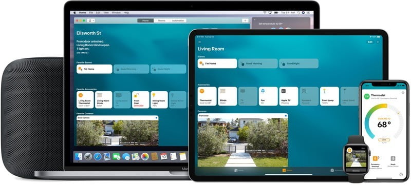 HomeKit Home app shown on Apple product line