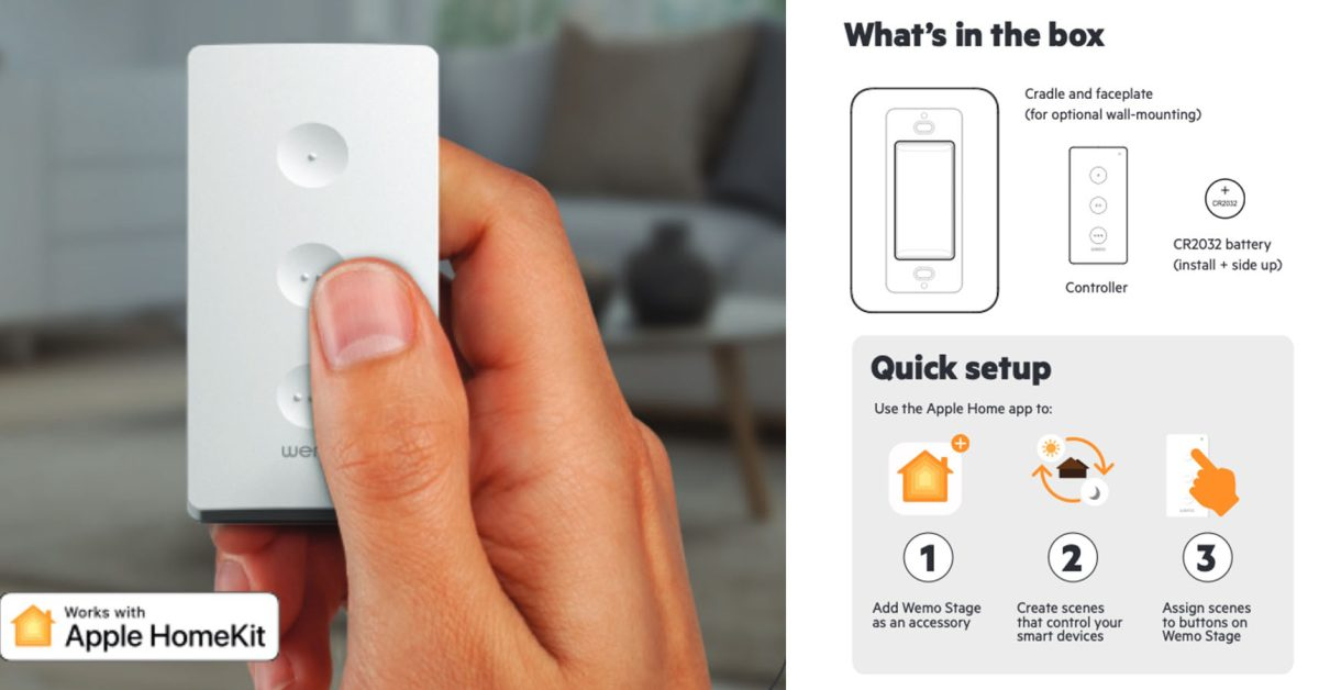 """HomeKit remote control """"Wemo Stage"""" similar to Hue Dimmer"""