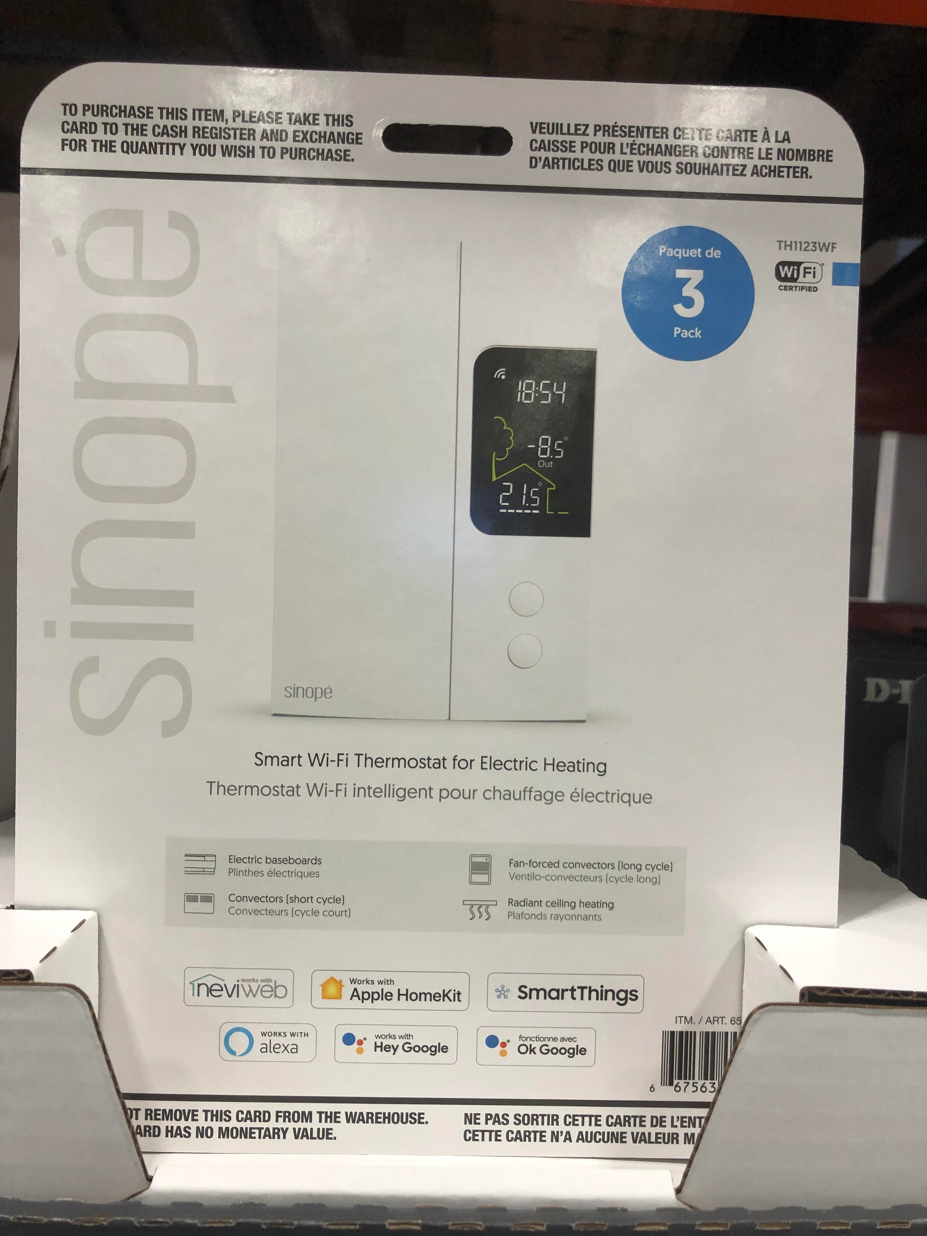 Homekit compatible thermostat at Costco in Montreal. Designed in Qc