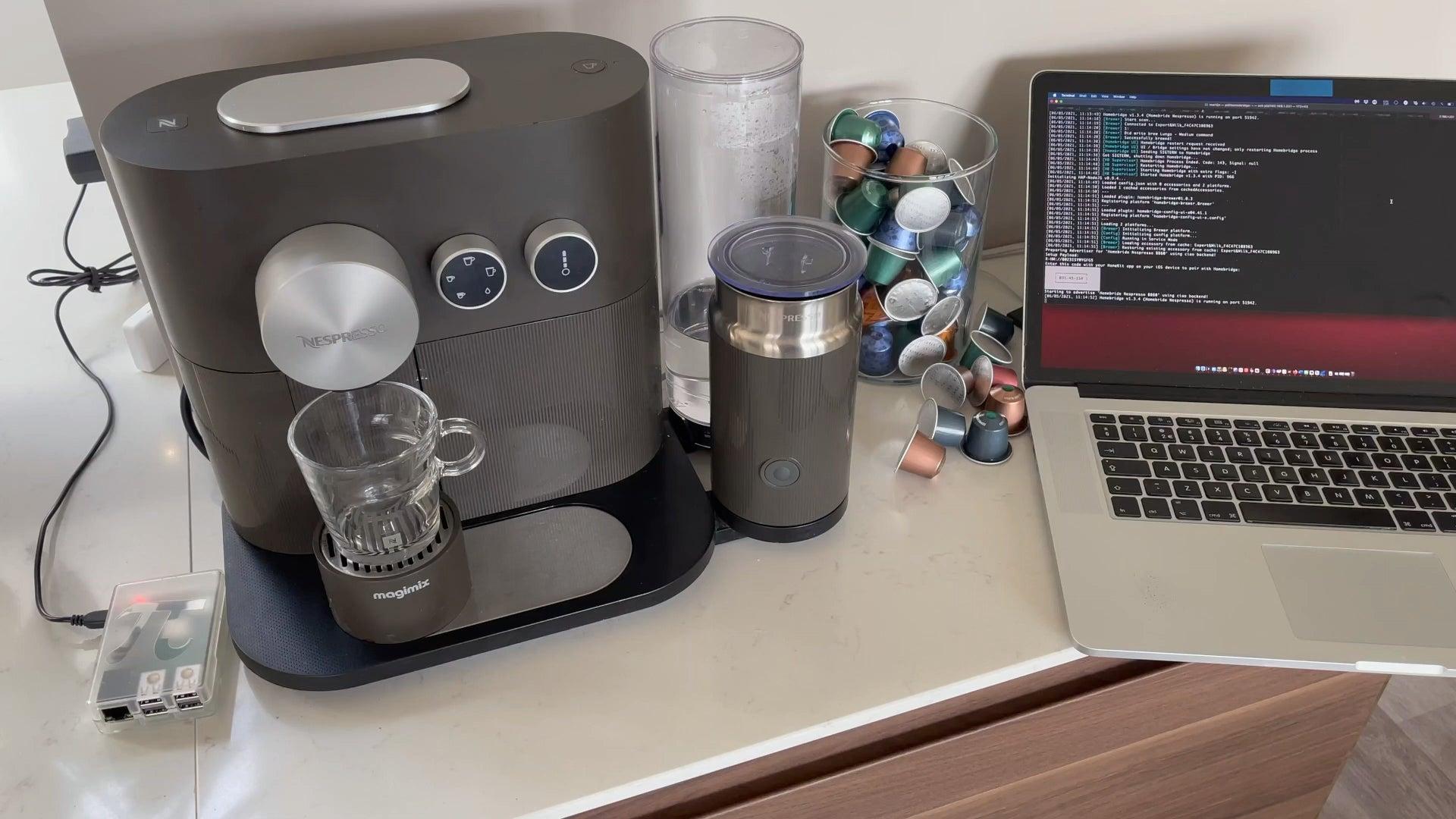 I got my Nespresso coffee machine with HomeKit via Homebridge brewer