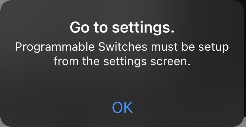 I'm trying to create an automation with a HomeKit button from ikea, but I get this message.  Any idea?