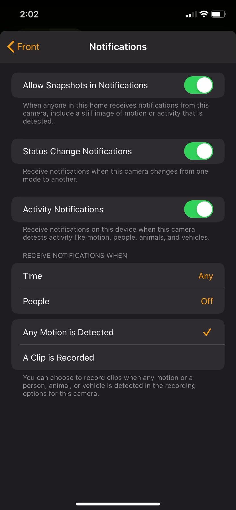Is anyone else unable to set HKSV notifications to appear