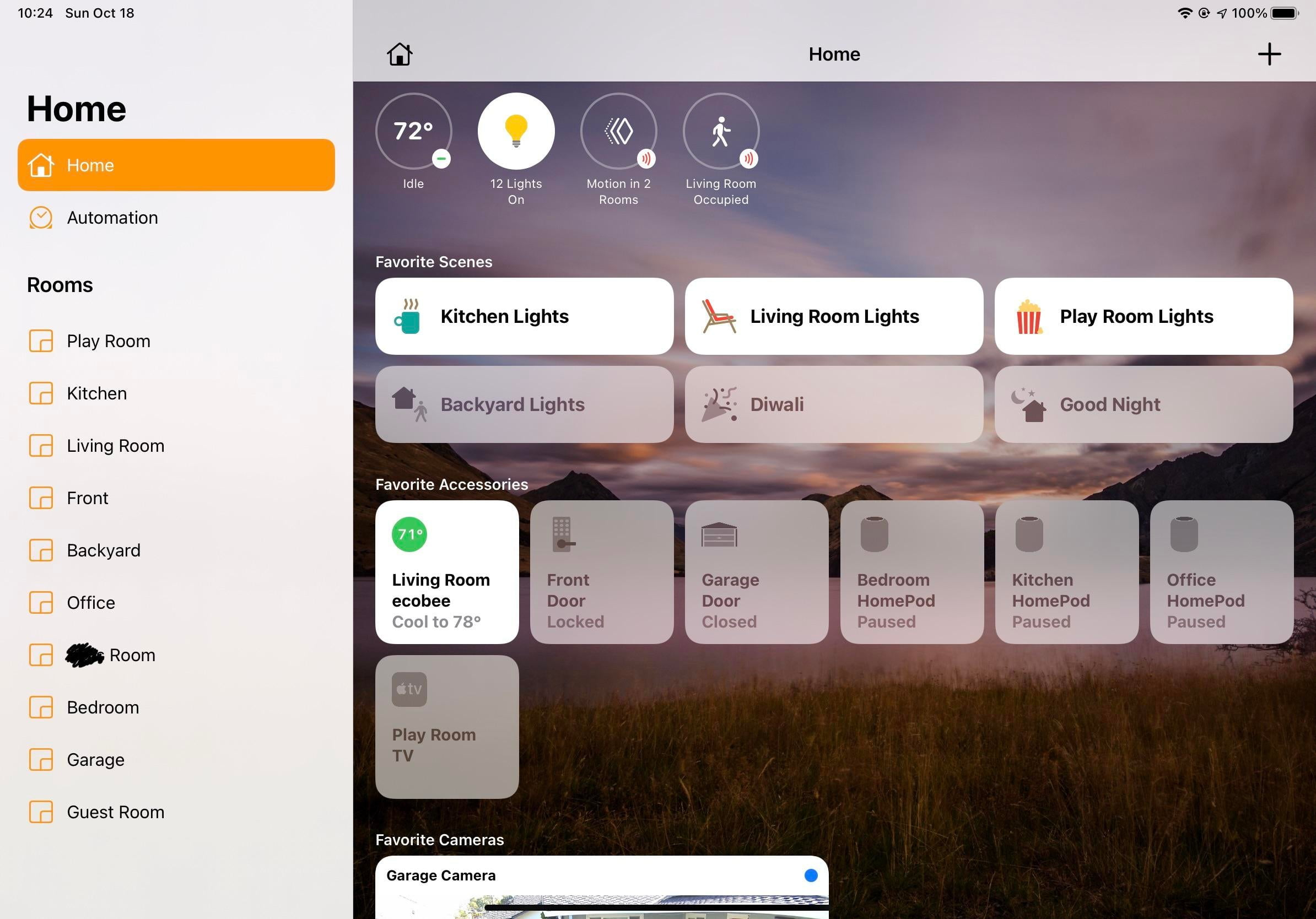 My HomeKit setting All interior and exterior lights 3 HomePods