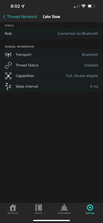 Nanoleaf A19 said thread disabled 4 days ago I removed