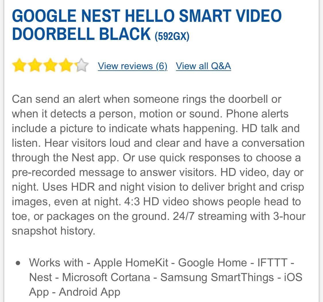 Nest Hello Advertise as HomeKit @ Screwfix compatible website