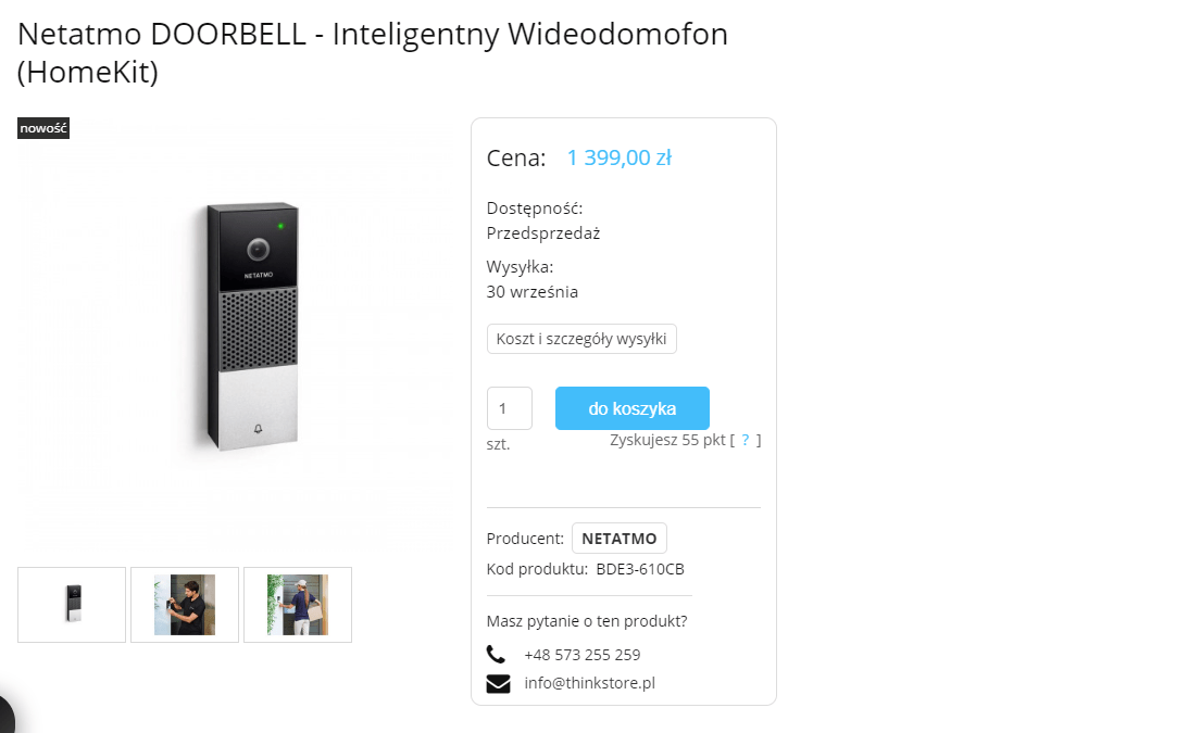 Netatmo Doorbell is listed for the September 30 launch at 1399 PLN / ~ 350 USD