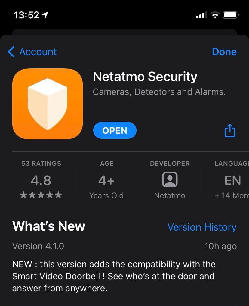 Netatmo Security update for Doorbell