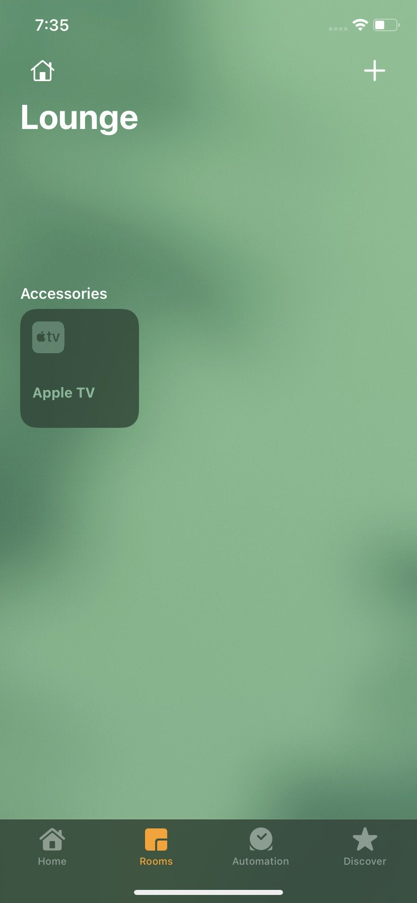 New HomeKit user interface Discover section at the bottom. Views