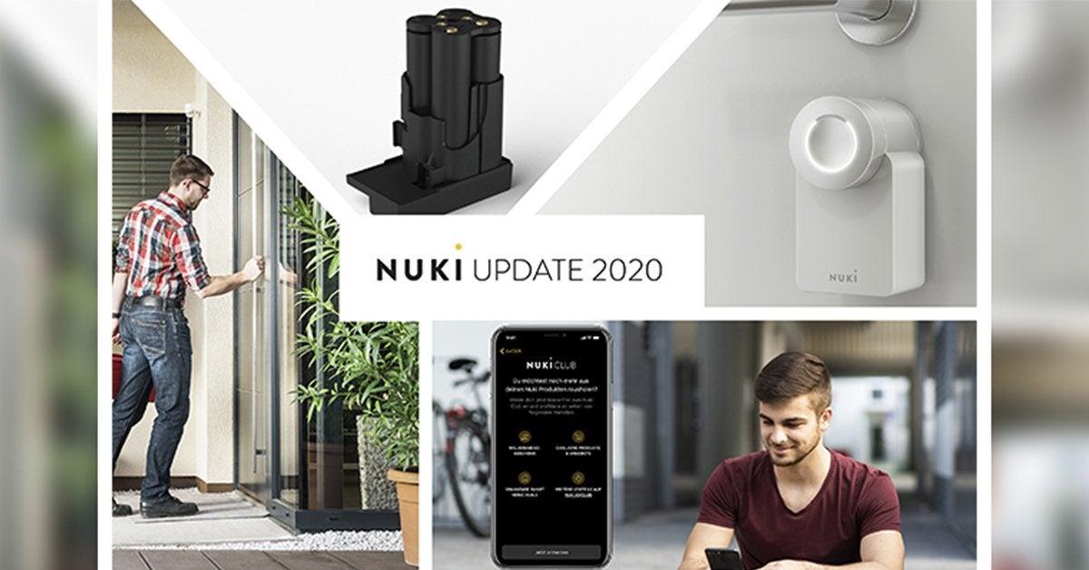 Nuki Reveal Nuki Lock 2.0 White Edition and rechargeable Nuki Power Pack.