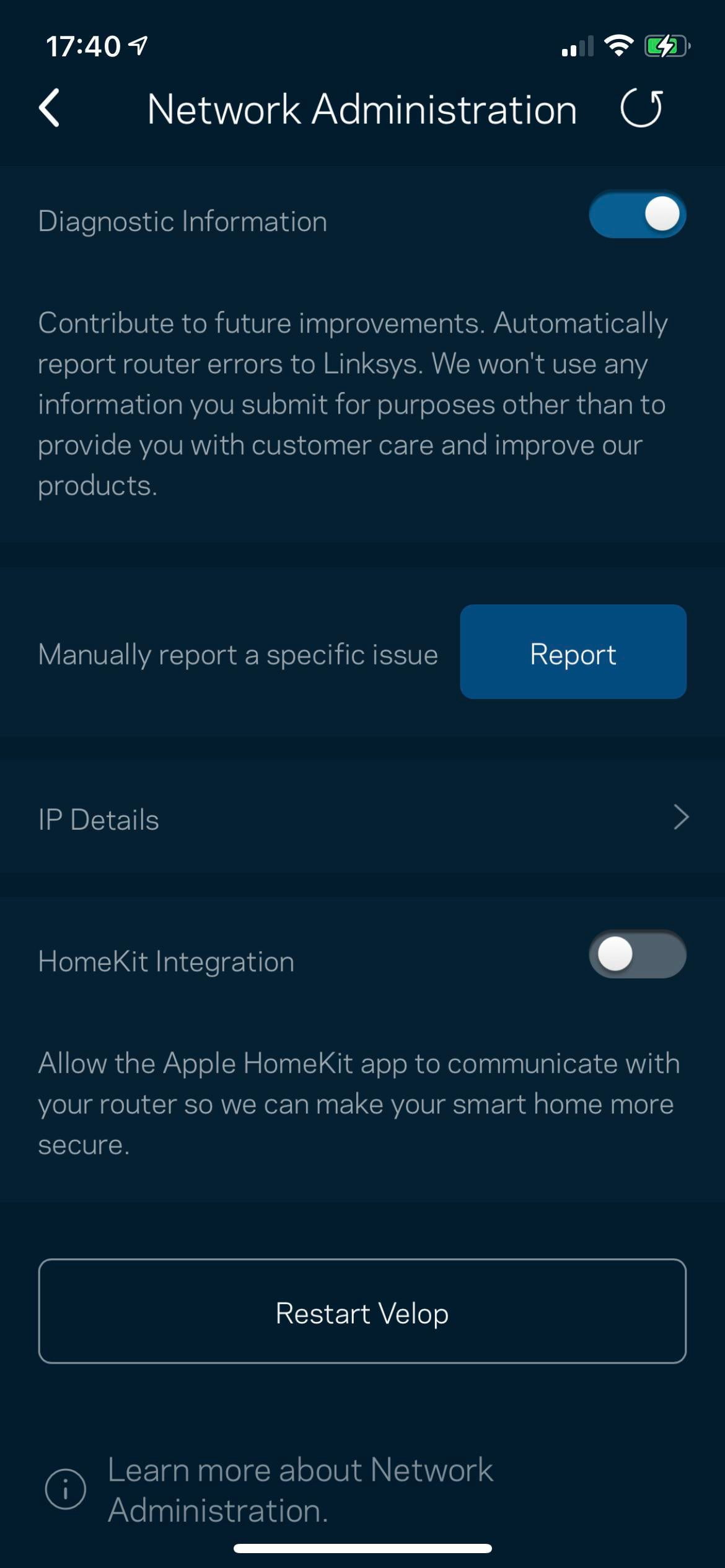 PSA Disable HomeKit Integration if you use Linksys Velop in