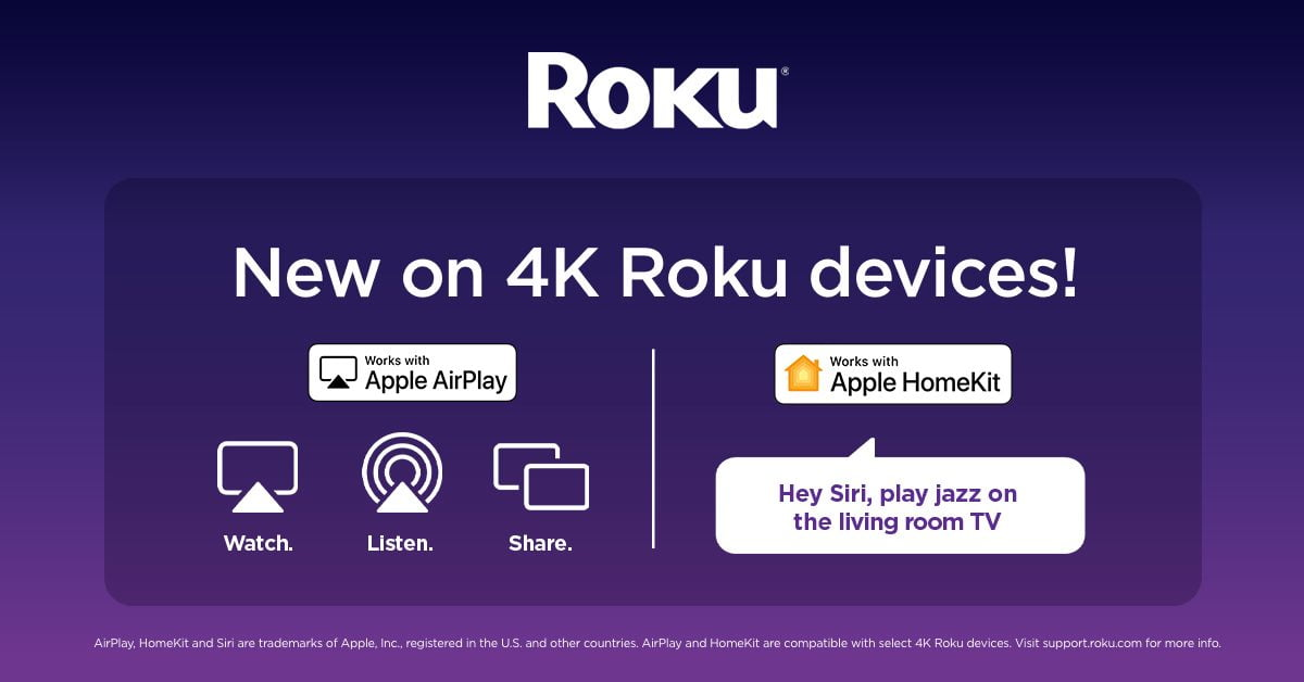 Roku now rolling out HomeKit and AirPlay 2 for streaming devices and smart TVs