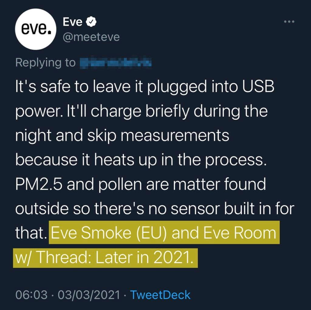 Thread updates for Eve Smoke (EU) and Eve Room, which will come later in 2021.