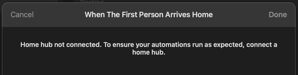 Why does the Home application on the Mac think that no Home hub is configured?