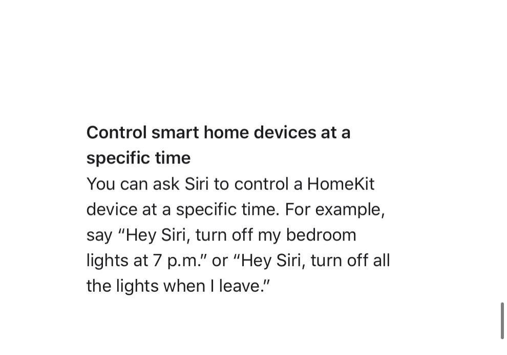 iOS 15 - ask Siri to turn off HomeKit devices at a certain time of day